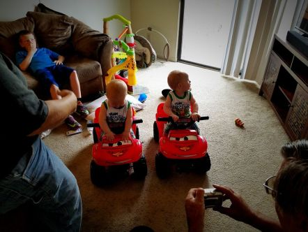 Papaw got them four-wheelers for their birthday!